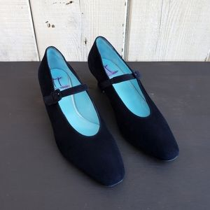 Thierry Rabotin Navy Suede Mary Jane Pumps Size 38